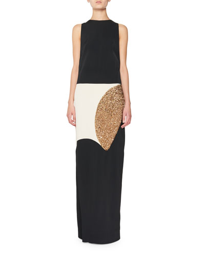 Sleeveless Colorblock Column Gown, Black
