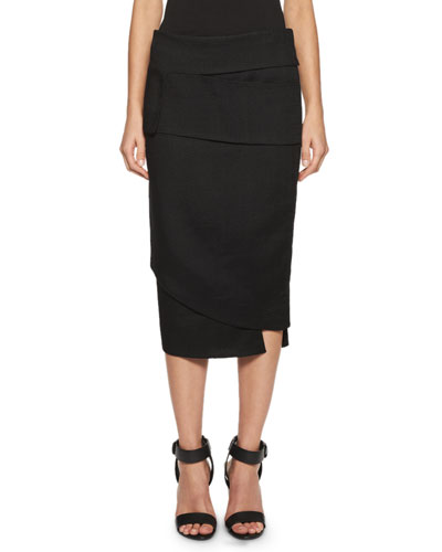Layered Asymmetric Pencil Skirt