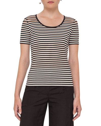 Striped Perforated Short-Sleeve Tee, Cream/Black