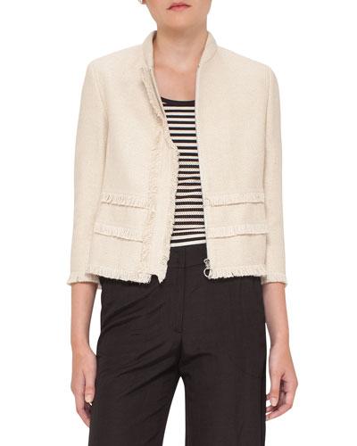 Fringe-Trim Zip-Front Jacket, Linen