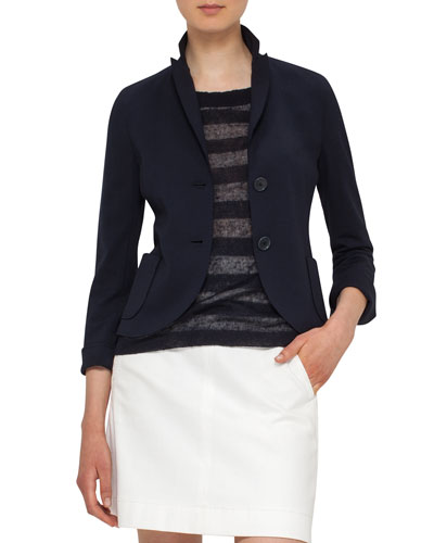 Jersey Patch-Pocket Blazer, Navy