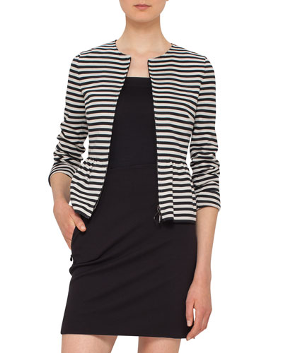 Striped Peplum Zip Jacket, Black/Cream