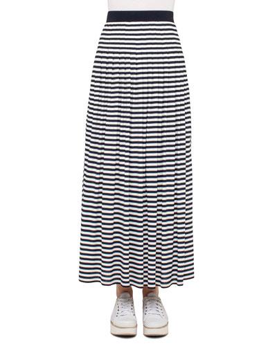 Striped Pleated Maxi Skirt, Navy/Cream