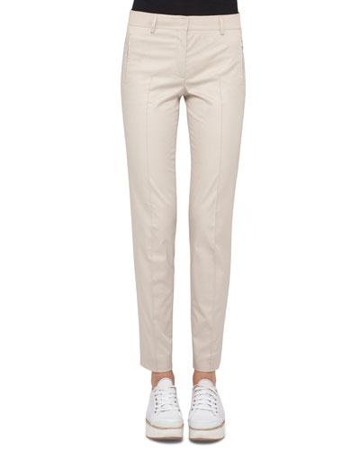 Fabia Pintucked Slim-Fit Pants, Linen