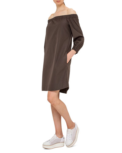 Off-the-Shoulder Cotton Shift Dress, Olive