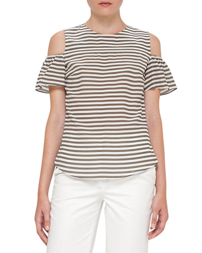 Striped Ruffled Cold-Shoulder Blouse, Khaki/Cream