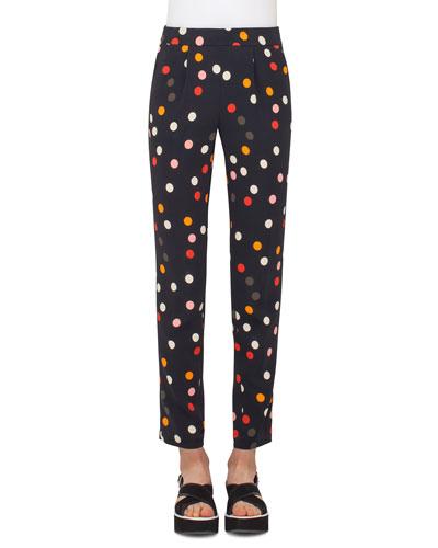 Polka-Dot Pleated Slim-Leg Ankle Pants, Multi