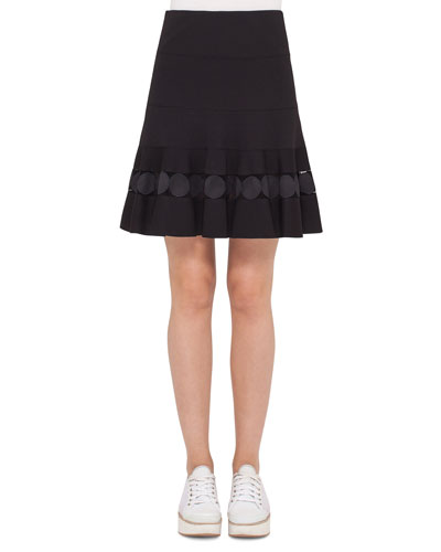 Dot-Lace Ruffled-Hem A-Line Skirt, Navy