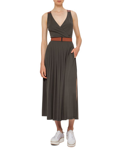 Belted Pleated Sleeveless Maxi Dress, Olive