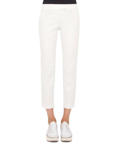 Frankie Slim-Fit Cropped Pants, Cream