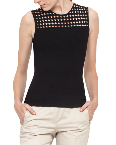 Lace-Yoke Sleeveless Top, Black