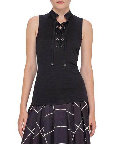 Tie-Front Sleeveless Top, Black