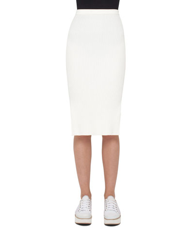 Side-Slit Pencil Midi Skirt, Cream