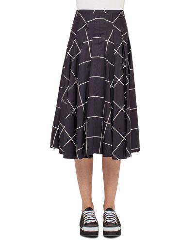 Windowpane A-Line Midi Skirt, Black/Cream