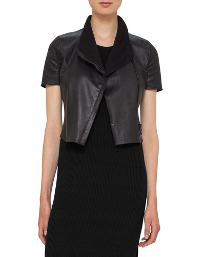 Leather Short-Sleeve Cropped Biker Jacket, Black
