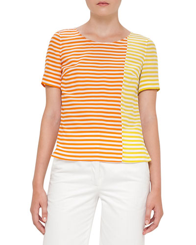 Striped Short-Sleeve Silk Blouse, Cream/Marigold/Sun