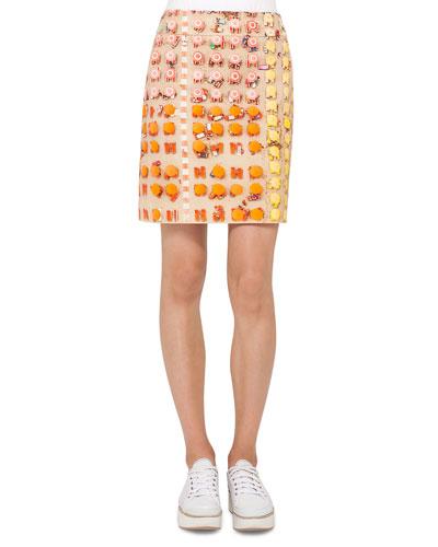 Riviera-Print A-Line Skirt, Multi