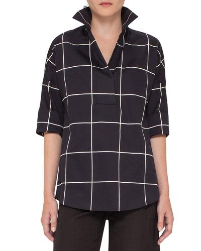 Windowpane 3/4-Sleeve Tunic, Black/Cream