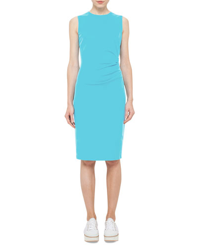 Ruched-Side Sleeveless Dress, Turquoise