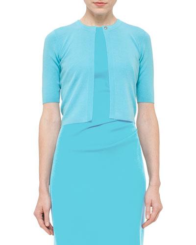 Wool Half-Sleeve Cropped Cardigan, Turquoise