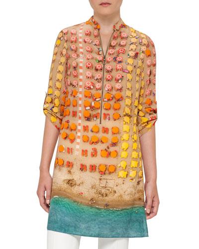 Riviera-Print Zip Silk Tunic, Multi