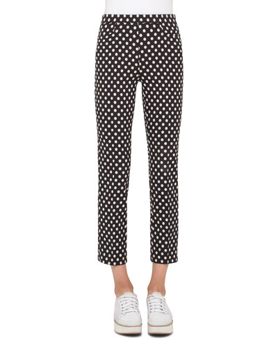 Franca Dot-Print Ankle Pants, Black/Cream