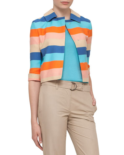Striped 3/4-Sleeve Cropped Jacket, Turquoise/Marigold
