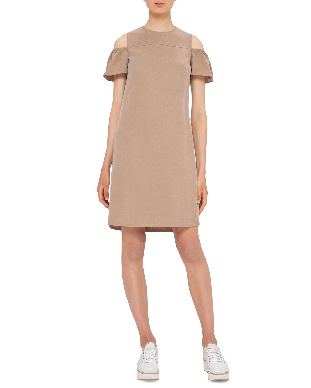 Ruffled Cold-Shoulder Shift Dress, Sand