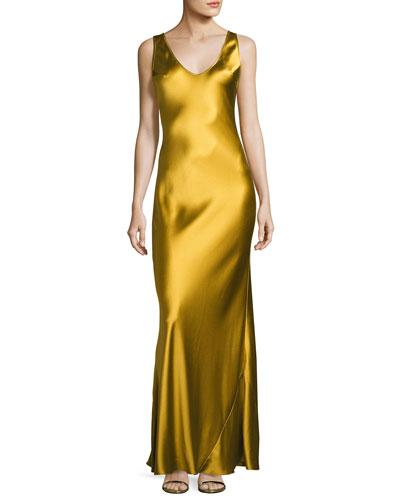 Satin Sleeveless Slip Gown, Gold