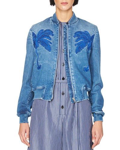 Embroidered Denim Bomber Jacket, Blue