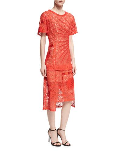 Carlotta Short-Sleeve Lace Midi Dress