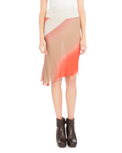 Degrade-Print Midi Skirt, Coral
