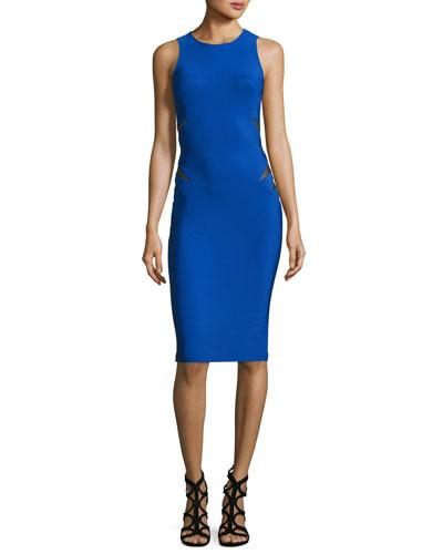 Mesh-Insert Sleeveless Sheath Dress, Blue
