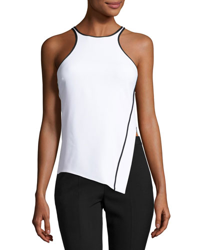 Sleeveless Asymmetric Racerback Top, White/Black