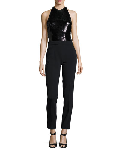 Sleeveless Jumpsuit with Sequined Bodice, Black