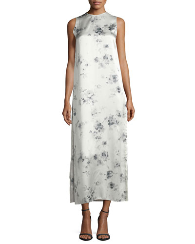 Sleeveless Floral Silk Midi Dress, Charcoal