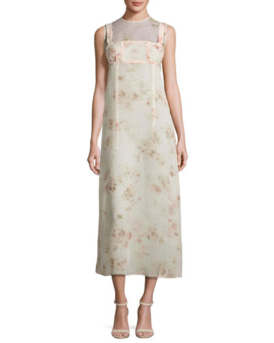 Sleeveless Floral A-Line Dress, Light Pink