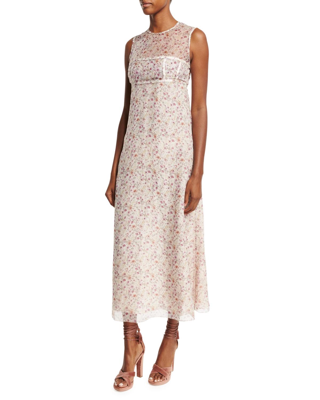 Sleeveless Floral Faux-Bandeau Dress, Blush