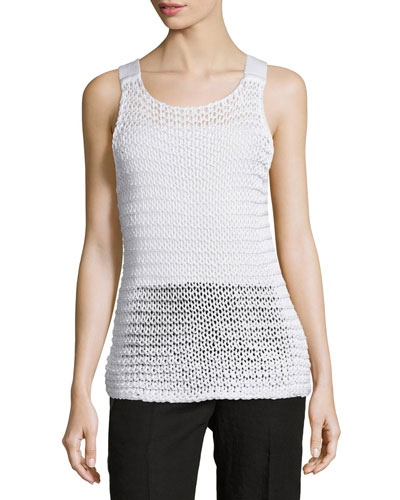Chunky-Knit Scoop-Neck Tank, White
