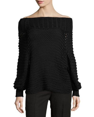 Off-the-Shoulder Cotton Crochet Sweater, Black