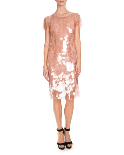 Sequined Short-Sleeve Cocktail Dress, Light Pink