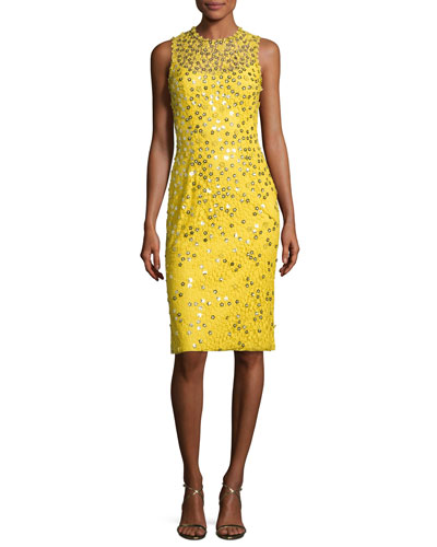 Floral-Sequin Lace Sleeveless Cocktail Dress