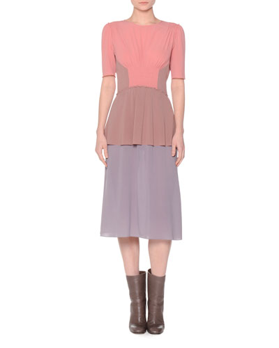 Short-Sleeve Colorblock Dress, Coral/Mauve/Lavender