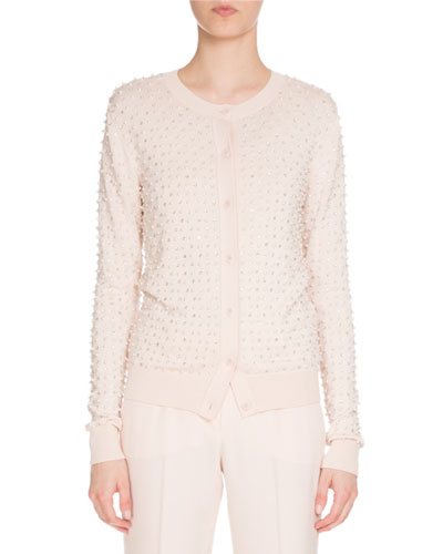 Pearly Crewneck Button-Front Cardigan, Skin