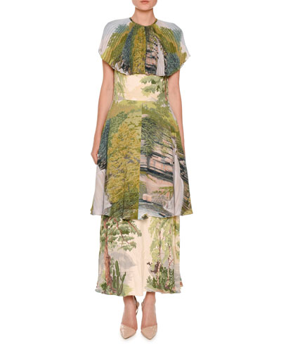Landscape-Print Tiered Capelet Dress