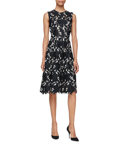 Seamed Floral Lace Dress, Black/Ivory