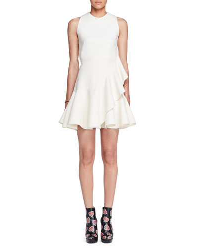 Sleeveless Ruffle-Trim Scuba Dress