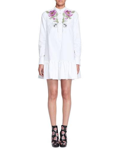 Floral-Embroidered Pique Tunic Dress