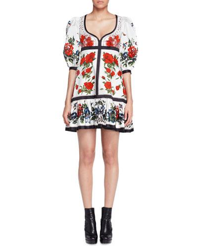 Bubble-Sleeve Tablecloth-Print Dress