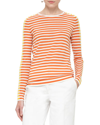 Striped Crewneck Pullover Sweater, Cream/Marigold/Sun